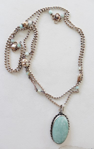 Sterling and Amazonite Pendant on Sterling Clad Ball Chain - The Corey Necklace
