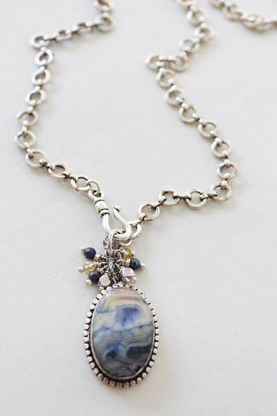 Lace Agate and Sapphire and Citrine Cluster Silver Clad Necklace - The Sandra Necklace