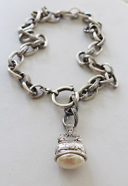 Chunky Sterling Clad with Pearl FOB Necklace - The Brynna Necklace