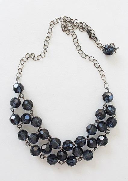 Smokey Navy Vintage Czech Glass Bib Necklace - The Moira Necklace