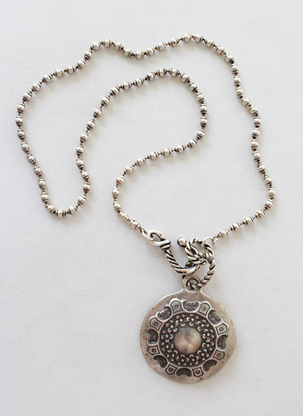Sterling Clad Shield on Ball Chain Necklace - The Florentine Necklace