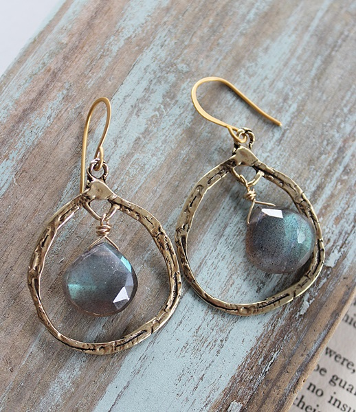 Labradorite Hoop Earrings - The Gaelynn Earrings