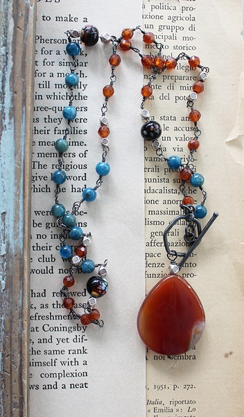 Carnelian and Apatite Lariat Necklace - The Deliah Necklace