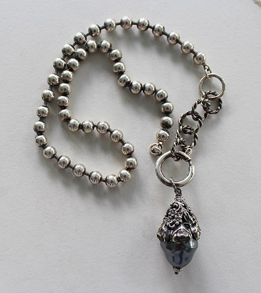Silver Clad Ball Chain with Miriam Haskell Pearl - The Remy Necklace