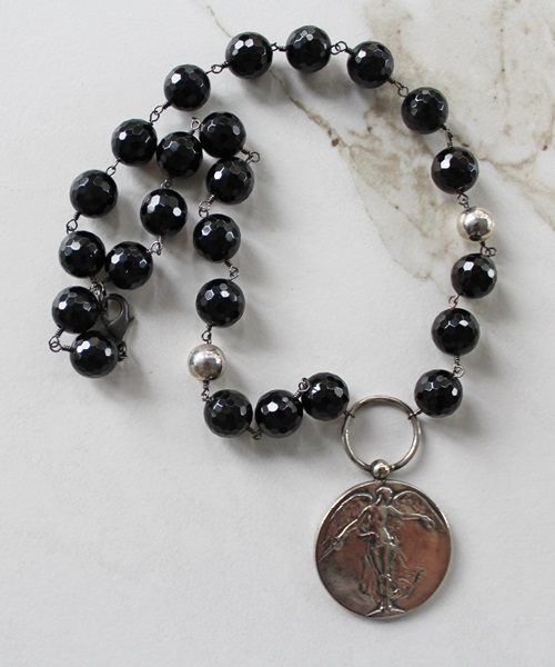 Black Agate and Victory Medal Necklace - The Victoria Necklace