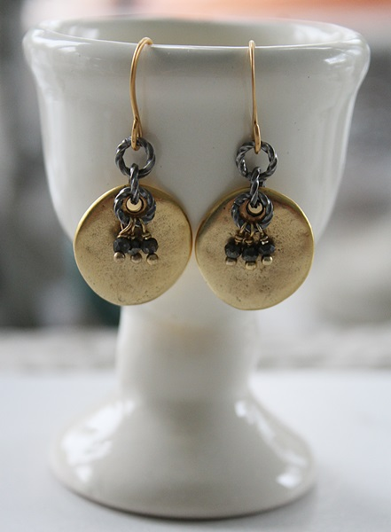 Pyrite and Gold Coin Earrings - The Mel Earrings