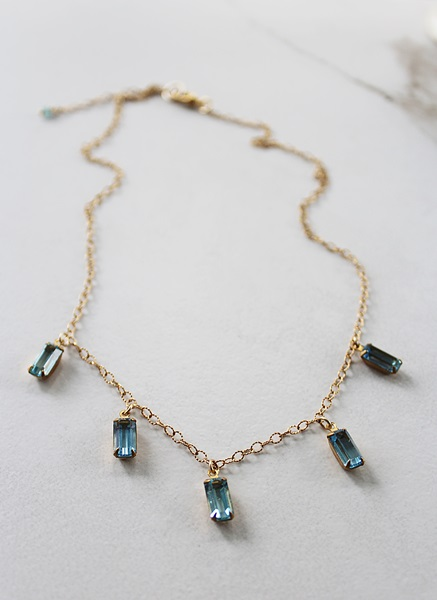 Vintage Glass Cabachon and Gold Necklace - The Hadley Necklace