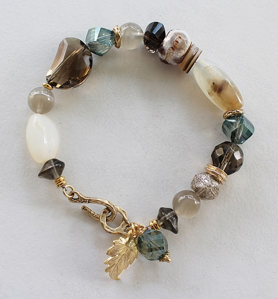 Smokey Quartz, Agate, Moonstone, Vintage Glass Bracelet - The Autumn Bracelet