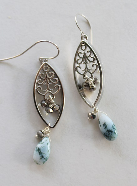 Apatite and Filigree Earrings - The Dara Earrings