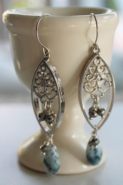 Apatite and Filigree Earrings - The Dara Earrings