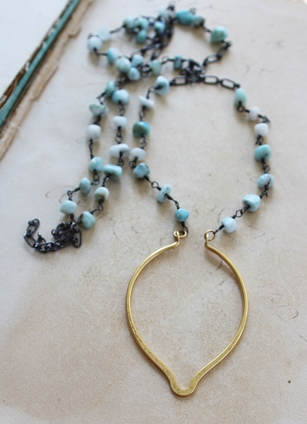 Larimar and Oxidized Sterling Silver with Arabesque Pendant - The Athena Necklace