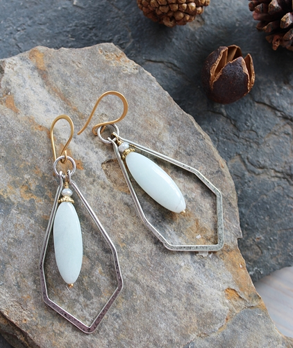 Amazonite and Silver Hoop Earrings - The Quincy Earrings