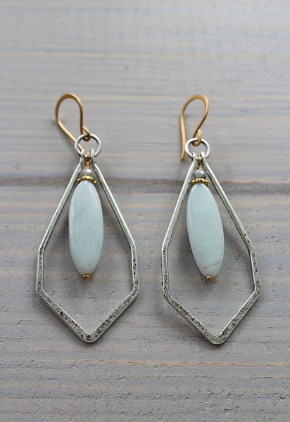 Amazonite and Silver Hoop Earrings - The Quincy Earrings