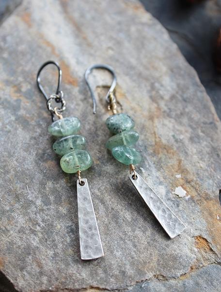 Green Kyanite Pebble and Silver Dangle Earrings - The Kirsten Earrings