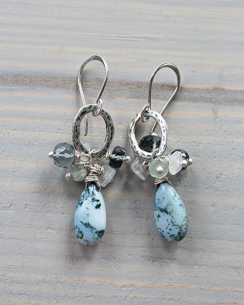 Moss Opal and Mixed Gem Earrings - The Flora Earrings