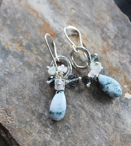 Moss Opal and Mixed Gem Earrings - The Flora Earrings