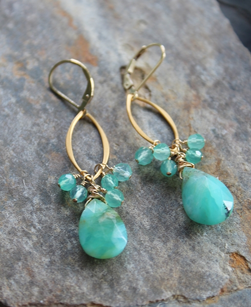 Peruvian Opal Cluster Earrings - The Lorna Earrings