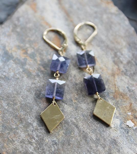 Iolite and Diamond Dangle Earrings - The Christopher Earrings