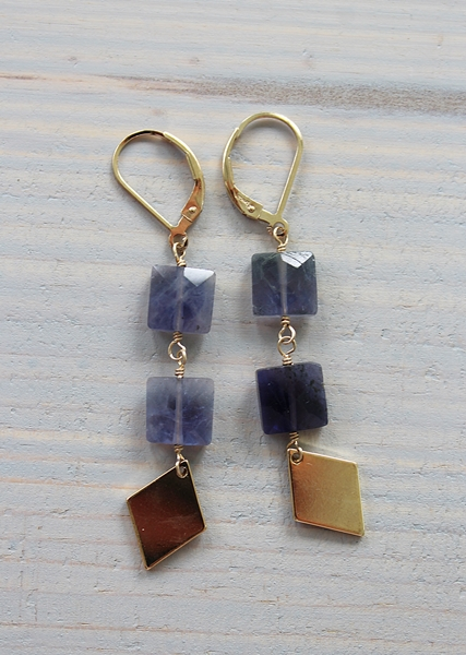 Iolite and Diamond Dangle Earrings - The Christopher Earrings