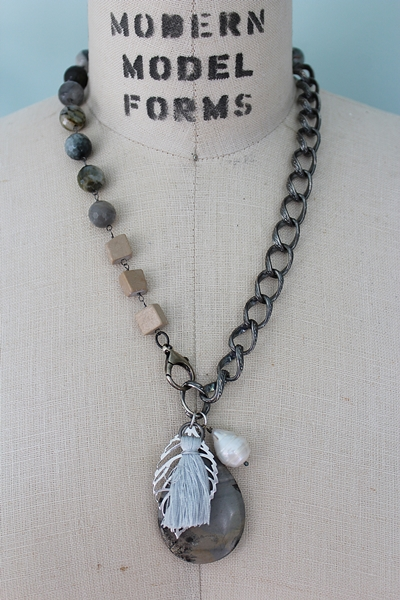 Agate and Silver Chain Tassel Necklace - The Augusta Necklace