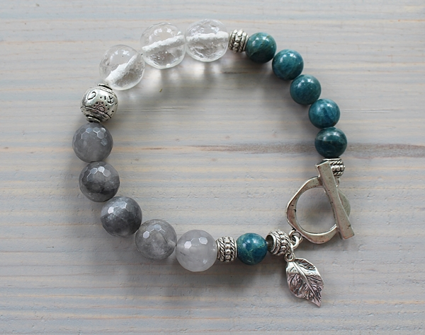 Apatite, Gray Moonstone and Clear Cherry Glass Bracelet - The Autumn Bracelet