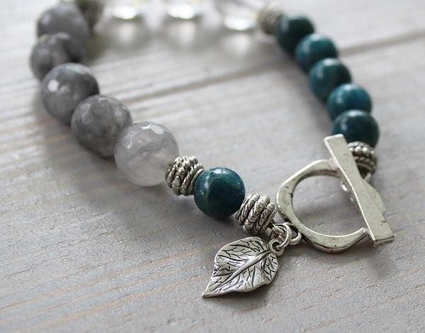 Apatite, Gray Moonstone and Clear Cherry Glass Bracelet - The Autumn Bracelet