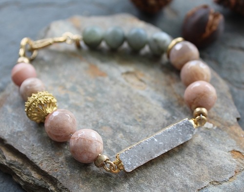 Peach Moonstone and Raw Labradorite Druzy Bar Bracelet - The Cory Bracelet