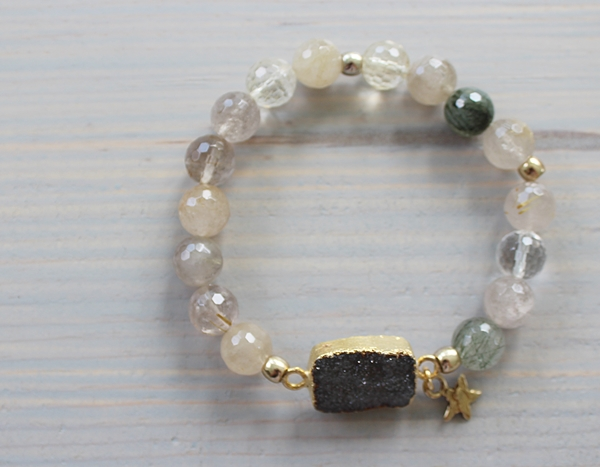 Raw Agate and Druzy Stretch Bracelet - The Danni Bracelet