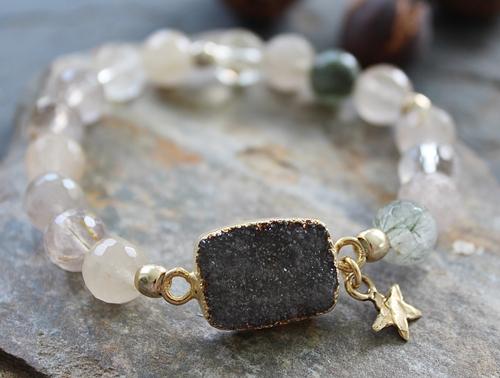 Raw Agate and Druzy Stretch Bracelet - The Danni Bracelet