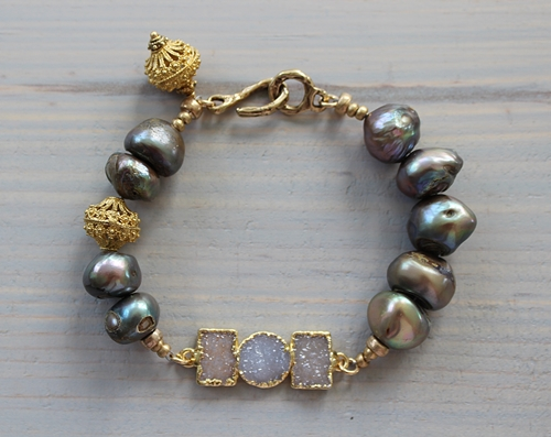 Druzy Trio and Fresh Water Pearl Bracelet - The Jackson Bracelet