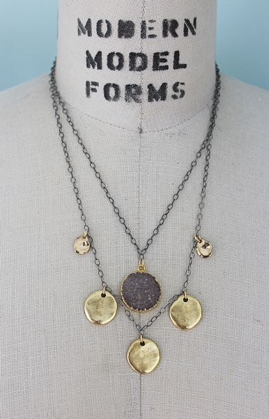 Mixed Metal Druzy and Brass Necklace - The Brenda Necklace