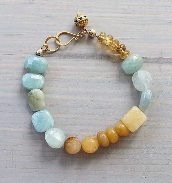 Aquamarine and Agate Bracelet - The Alanna Bracelet