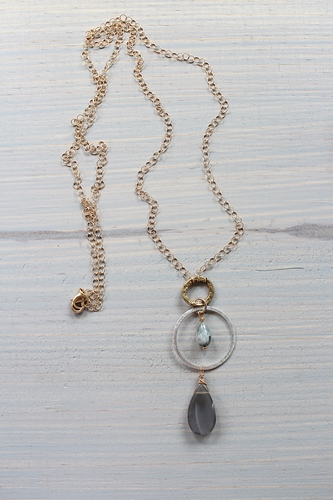 Gray Moonstone and Mixed Metal Necklace - The Aubrey Necklace