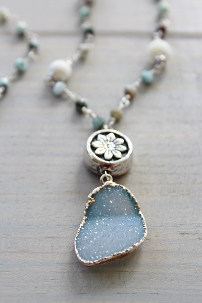 Larimar and Mother of Pearl Druzy Necklace - The Sienna Necklace