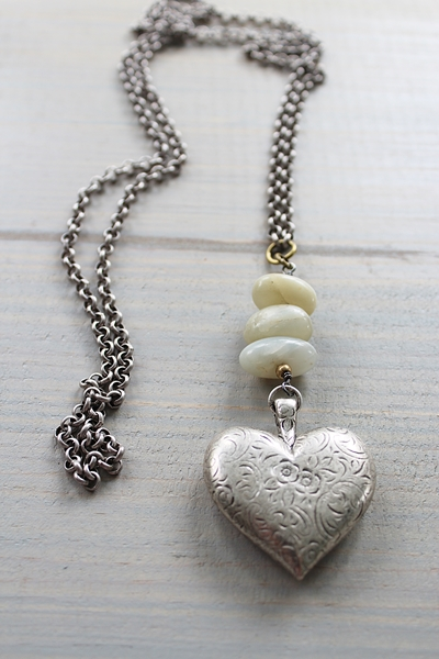 Etched Heart and Raw Moonstone Necklace - The Lila Necklace