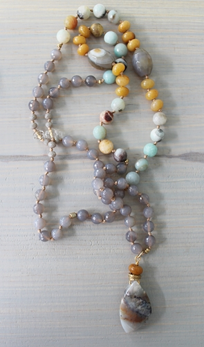 Agate OOAK Knotted Necklace - The Sierra Necklace