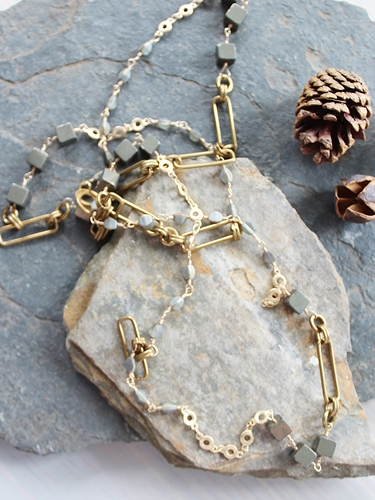 Pyrite, Czech Glass, and Brass Necklace - The Kieran Necklace