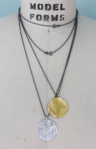 Oxidized Sterling Silver and Round Pendant Necklace - The Peyton Necklace