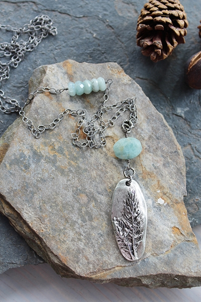 Aquamarine Oval and Silver Pendant Necklace - The Field Necklace