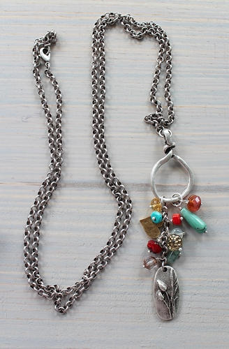Silver Pendant and Mixed Gem Necklace - The Skylar Necklace