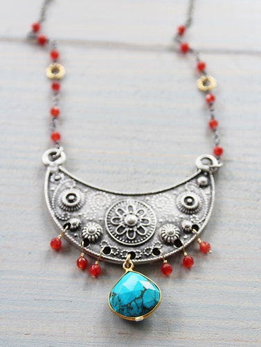 Turquoise and Carnelian Shield Necklace - The Alejandra Necklace