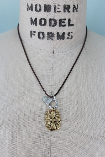 Mixed Metal Leather Cross Necklace - The Hope Necklace