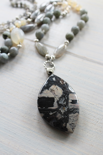 Jasper Pendant and Labradorite Hand Knotted OOAK Necklace - The Selah Necklace