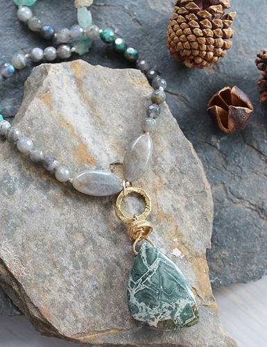 Labradorite, Raw Quartz, Czech Glass and Jasper Pendant OOAK Necklace - The Cypress Necklace