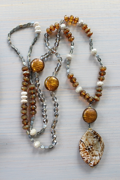 Czech Glass and Jasper Hand Knotted Necklace - The Birch Necklace