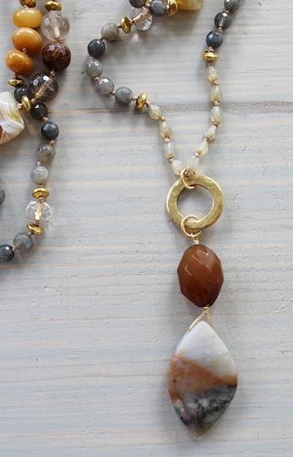Raw Quartz, Czech Glass, Labradorite and Agate Free Form OOAK Pendant Necklace - The Ash Necklace