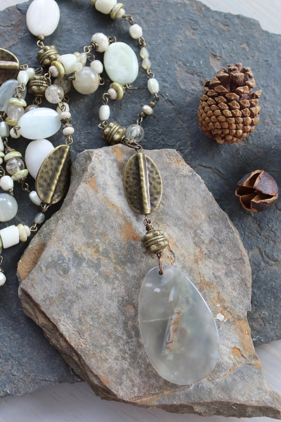 Mixed Gemstone and Agate Pendant OOAK Necklace - The White Oak Necklace
