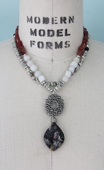 White Quartz, Raw Red Agate, Jasper with a OOAK Jasper Pendant - The Red Maple Necklace