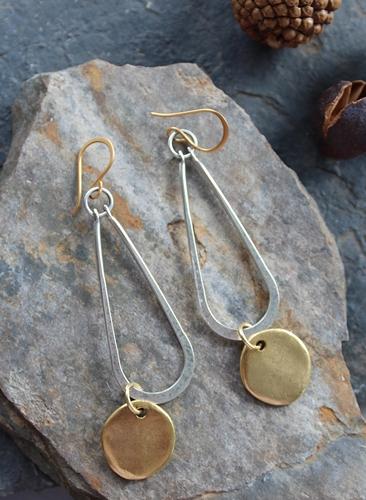 Silver and Brass Coin Earrings - The Liana Earrings