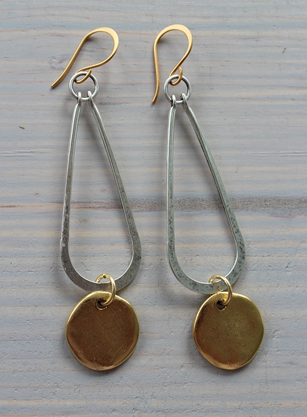 Silver and Brass Coin Earrings - The Liana Earrings